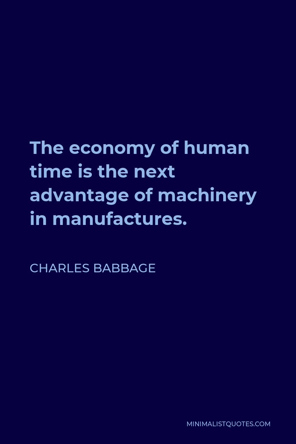 Charles Babbage Quote - The economy of human time is the next advantage of machinery in manufactures.