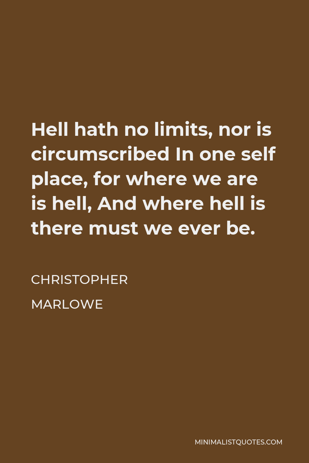 Christopher Marlowe Quote - Hell hath no limits, nor is circumscribed In one self place, for where we are is hell, And where hell is there must we ever be.