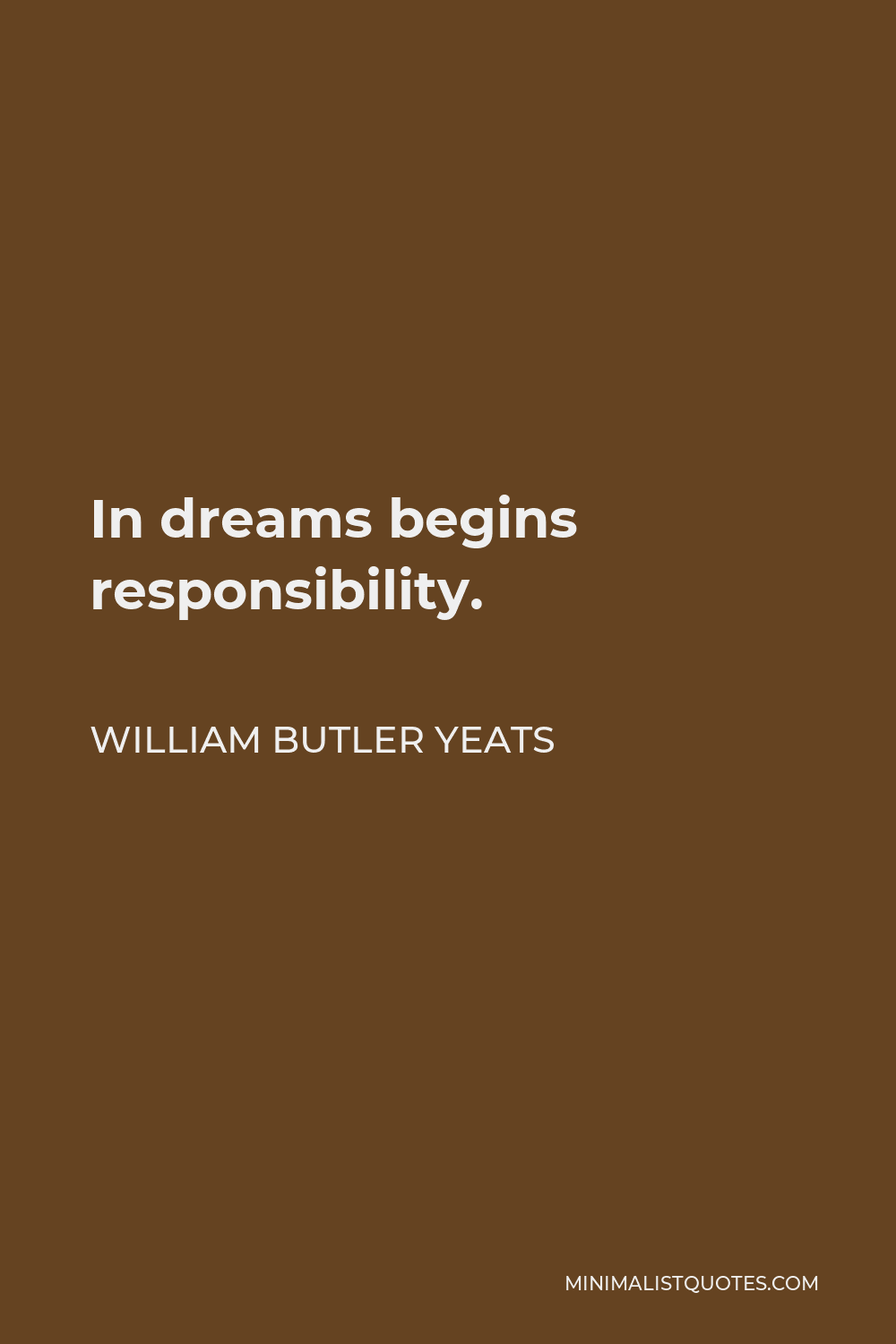 William Butler Yeats Quote - In dreams begins responsibility.