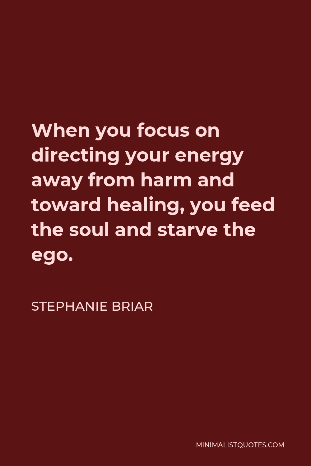 Stephanie Briar Quote - When you focus on directing your energy away from harm and toward healing, you feed the soul and starve the ego.