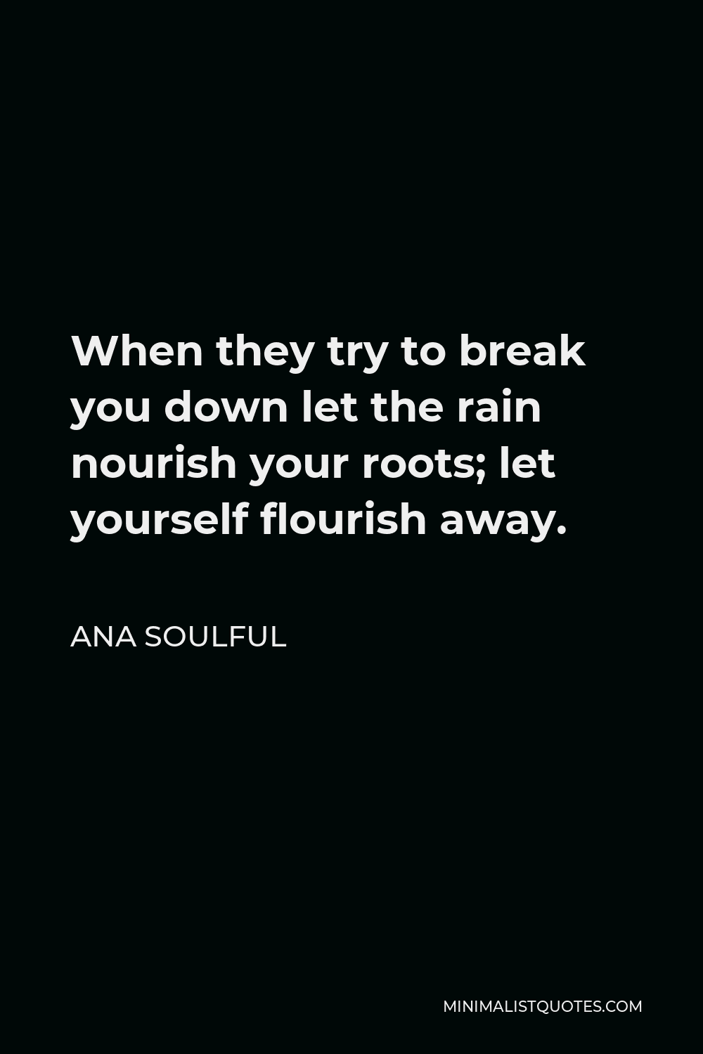 Ana Soulful Quote - When they try to break you down let the rain nourish your roots; let yourself flourish away.