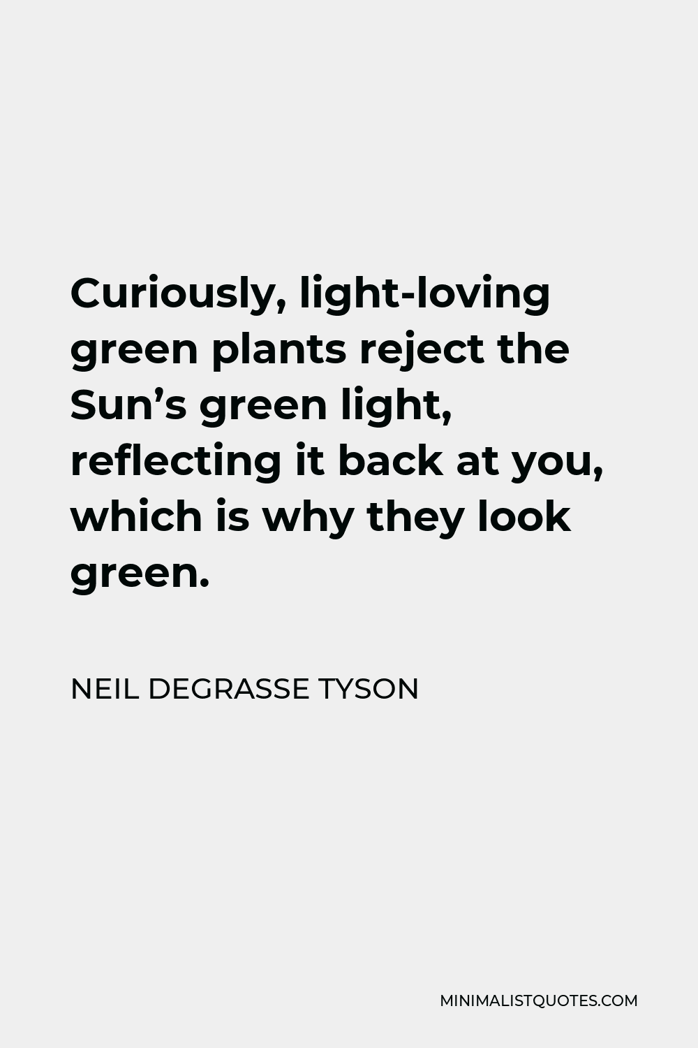 Neil deGrasse Tyson Quote - Curiously, light-loving green plants reject the Sun's green light, reflecting it back at you, which is why they look green.