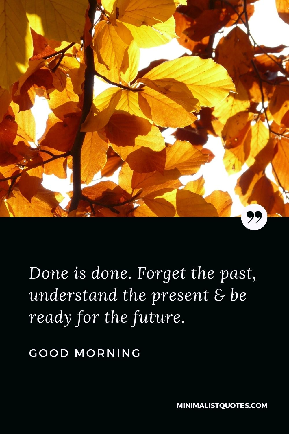 Good Morning Wish & Message With Image: Done is done. Forget the past, understand the present & be ready for the future.