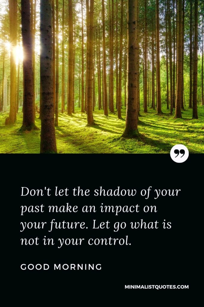 Good Morning Wish & Message With Image: Don't let the shadow of your past make an impact on your future. Let go what is not in your control.