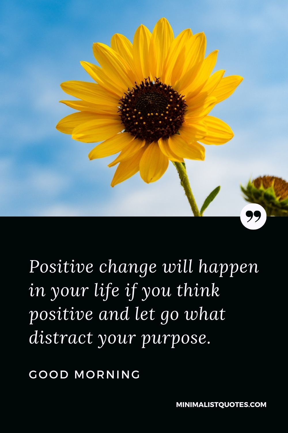 Good Morning Wish & Message With Image: Positive change will happen in your life if you think positive and let go what distract your purpose.