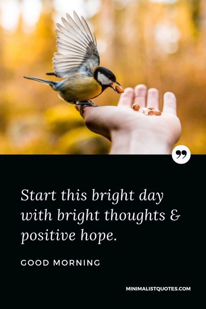 Good Morning Wish & Message With Image: Start this bright day with bright thoughts & positive hope.