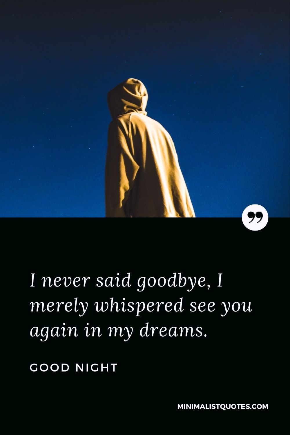 Good Night Wishes - I never said goodbye, I merely whispered see you again in my dreams.