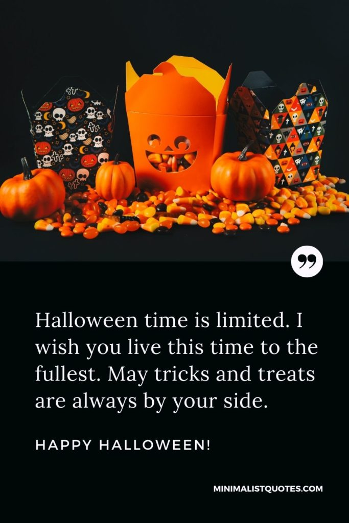 Happy Halloween Wishes - Halloween time is limited. I wish you live this time to the fullest. May tricks and treats are always by your side.