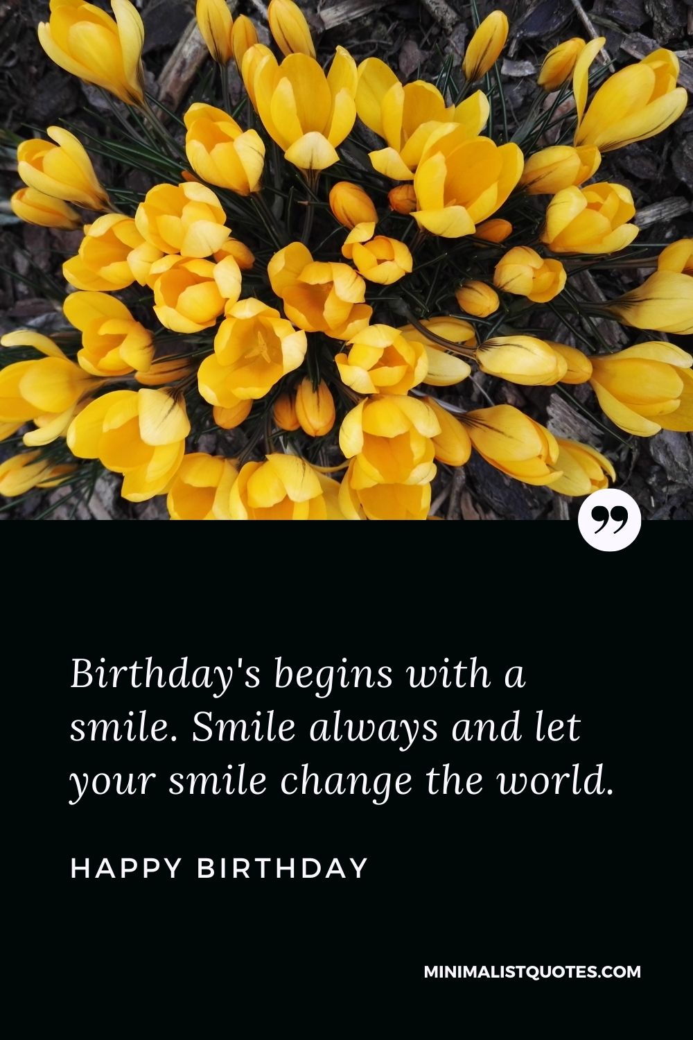 Happy Birthday Wishes - Birthday's begins with asmile. Smile always and let your smile change the world.