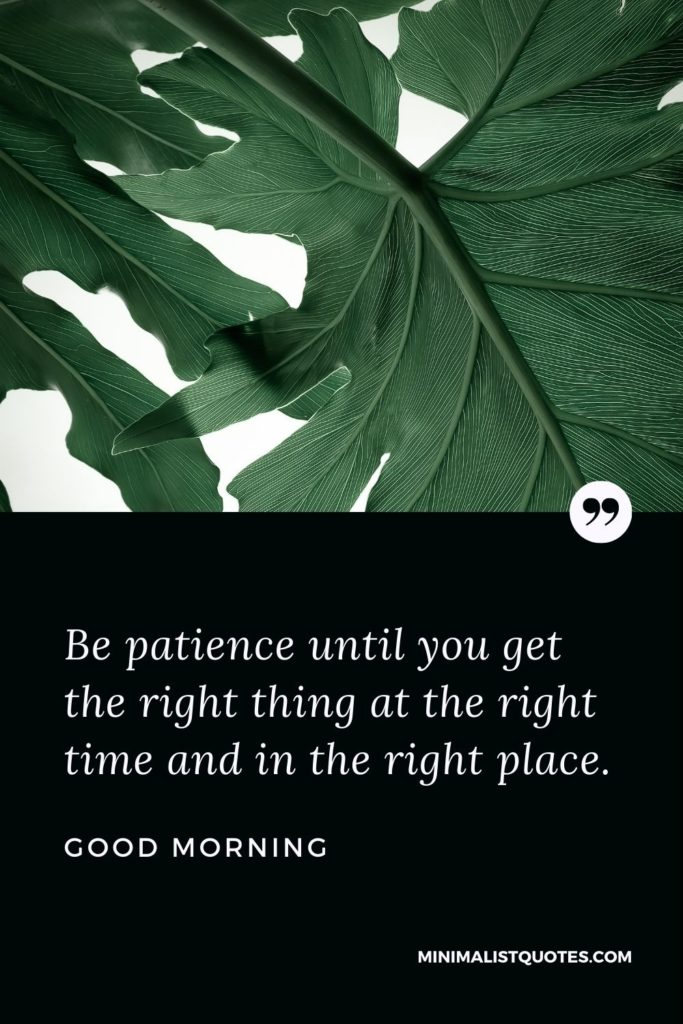 Good Morning Wish & Message With Image: Be patience until you get the right thing at the right time and in the right place.