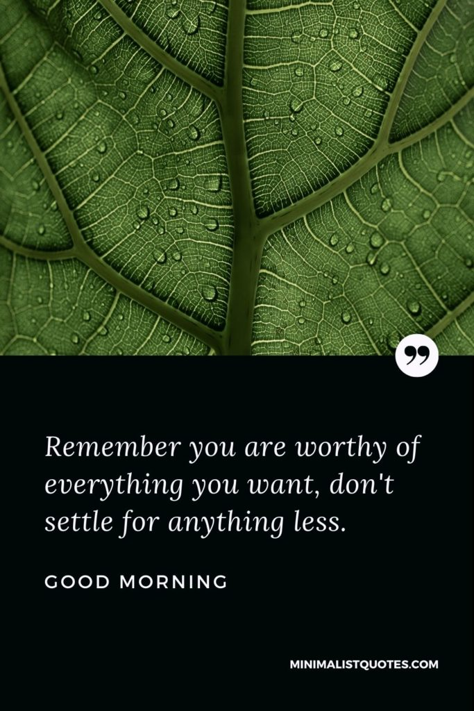 Good Morning Wish & Message With Image: Remember you are worthy of everything you want, don't settle for anything less.