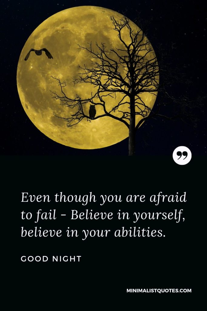 Good Night Wishes - Even though you are afraid to fail - Believe in yourself, believe in your abilities.