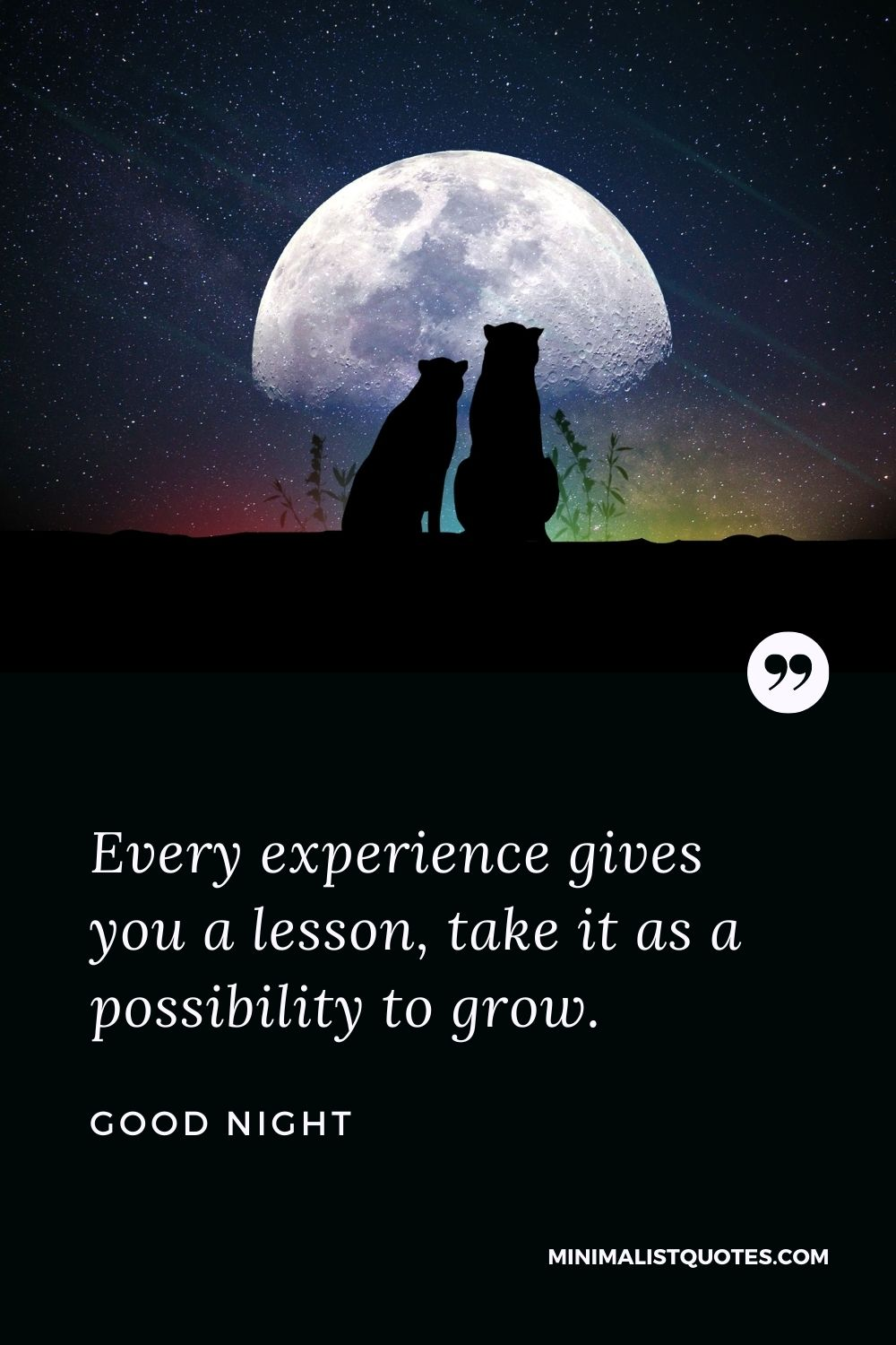 Good Night Wishes - Every experience gives you a lesson, take it as a possibility to grow.