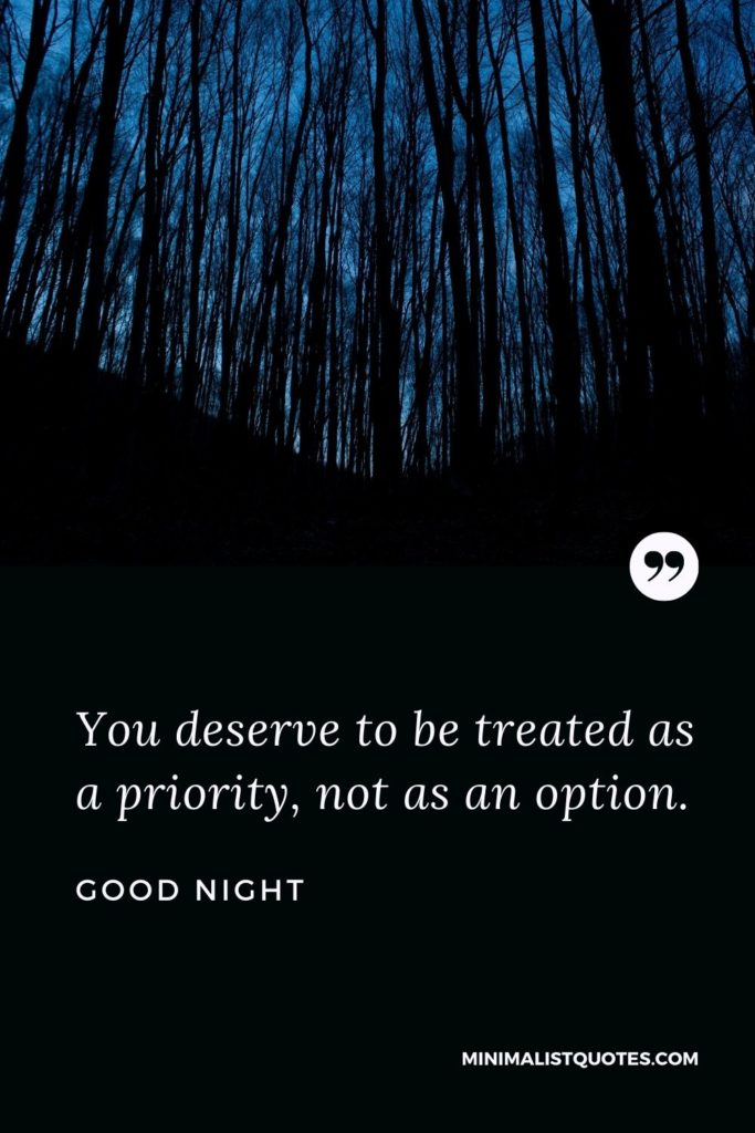 Good Night Wishes - You deserve to be treated as apriority,not as an option.
