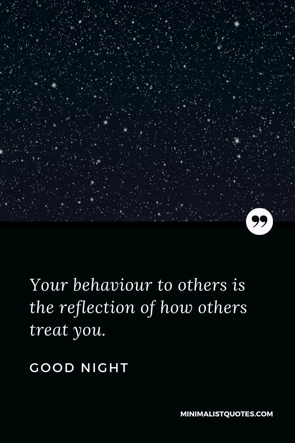 Good Night Wishes - Your behaviour to others is the reflection of how others treat you.