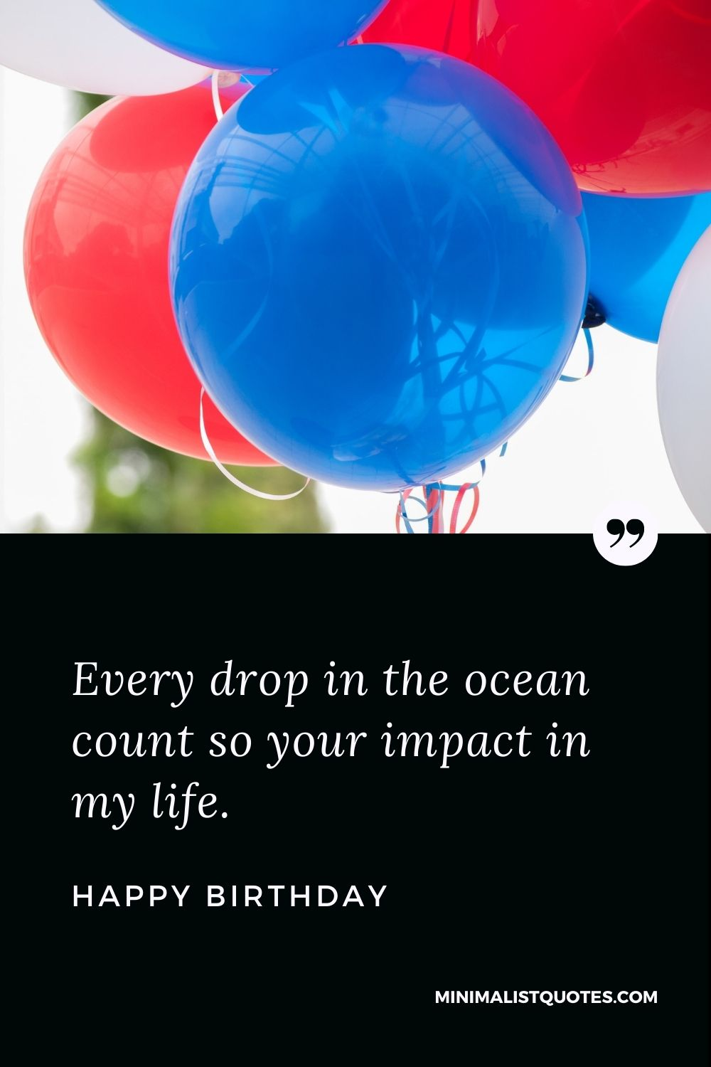 Happy Birthday Wishes - Every drop in the ocean count so your impact in my life.
