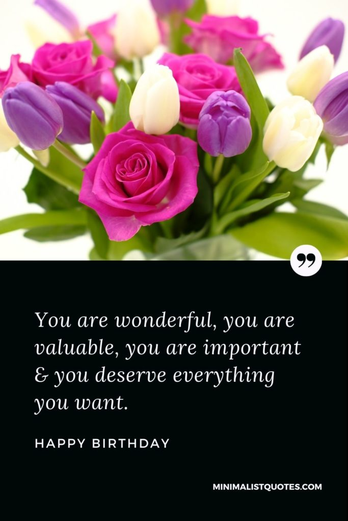 Happy Birthday Wishes - You are wonderful, you are valuable, you are important & you deserve everything you want.