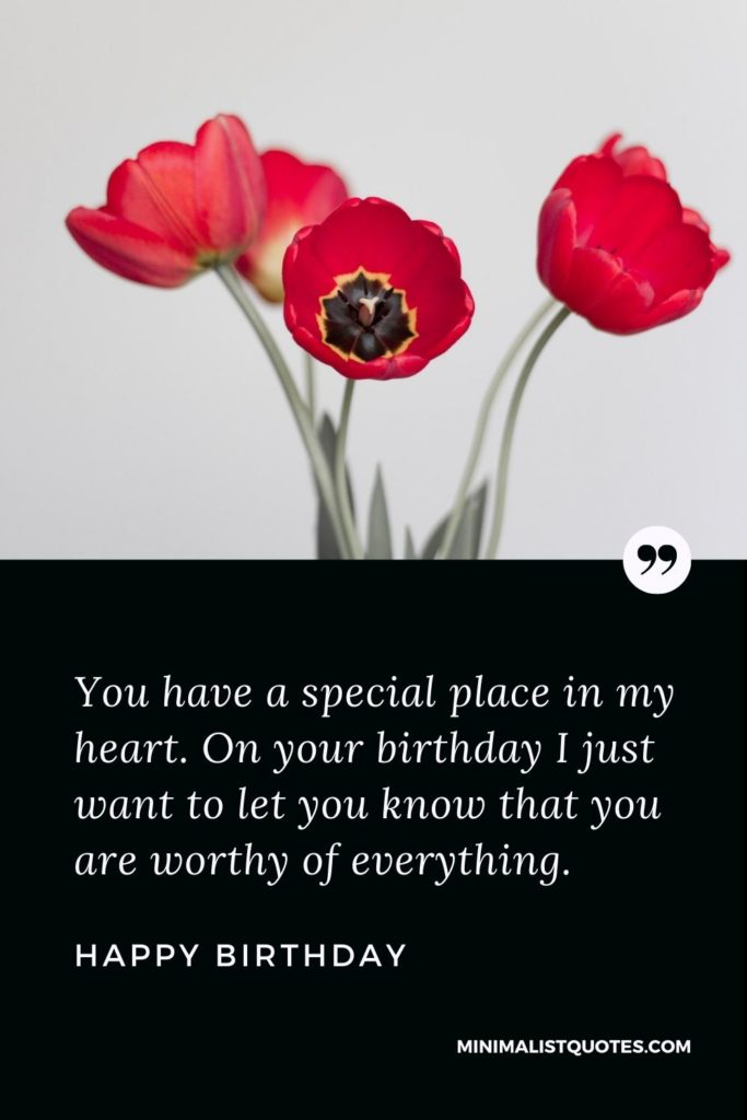 Happy Birthday Wishes - You have a special place in my heart. On your birthday I just want to let you know that you are worthy of everything.