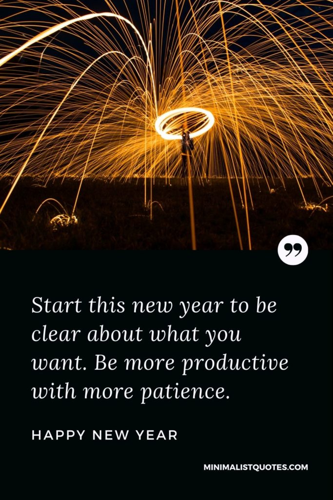 Happy New Year Wishes - Start this newyear to be clear about what you want. Be more productive with more patience.