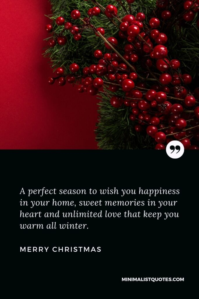 Merry Christmas Wish - A perfect season to wish you happiness in your home, sweet memories in your heart and unlimited love that keep youwarm all winter.
