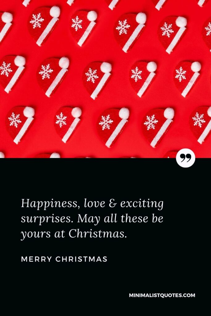 Merry Christmas Wish - Happiness, love & exciting surprises. May all these be yours at Christmas.