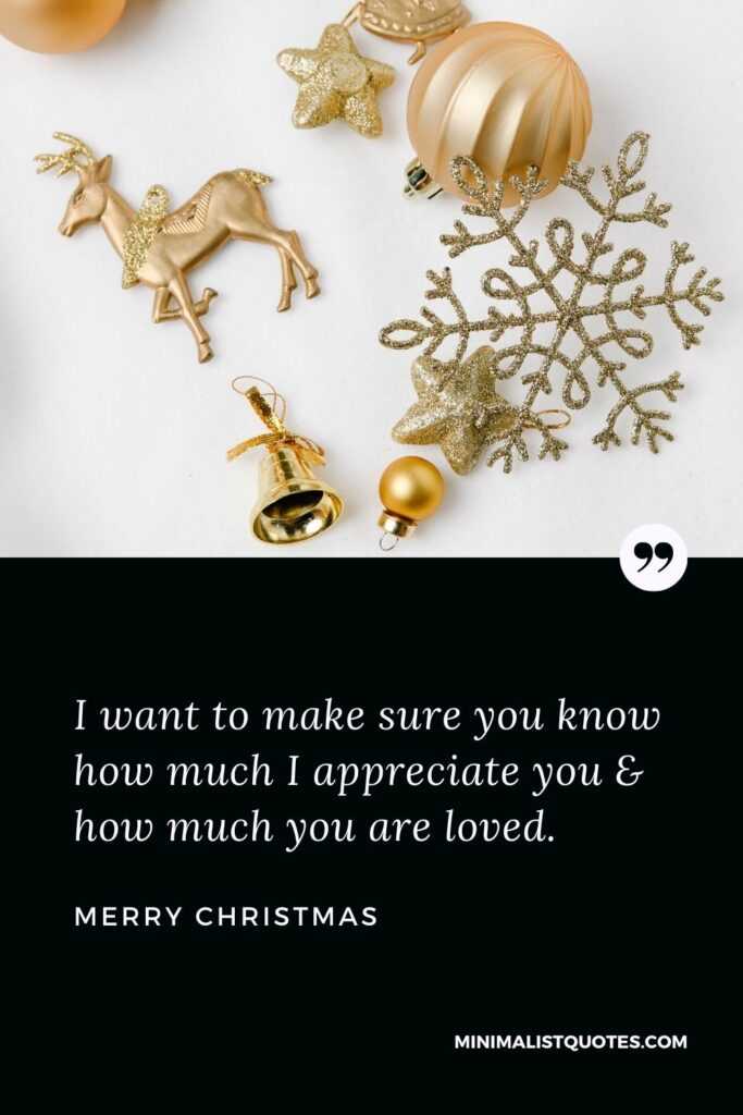 Merry Christmas Wish - I want to make sure you know how much I appreciateyou & how much you are loved.