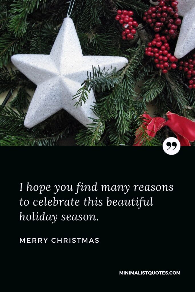 Merry Christmas Wish - I hope you find many reasons to celebrate this beautiful holiday season.