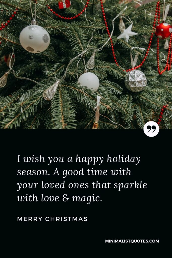 Merry Christmas Wish - I wish you a happy holiday season. A good time with yourloved ones that sparkle with love & magic.