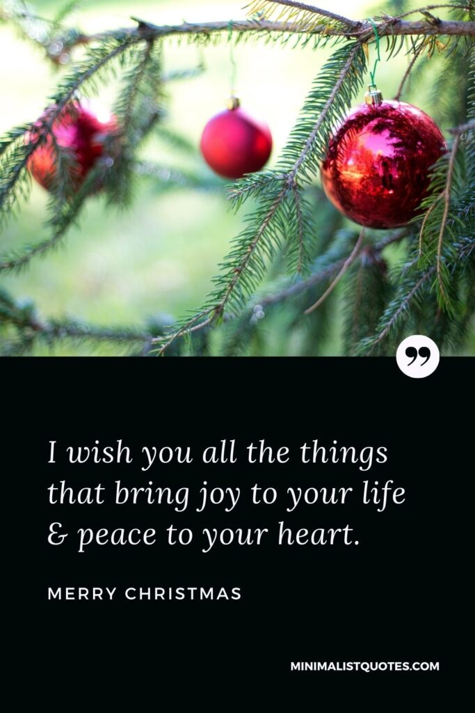 Merry Christmas Wish - I wish you all the things that bring joy to your life & peace to your heart.