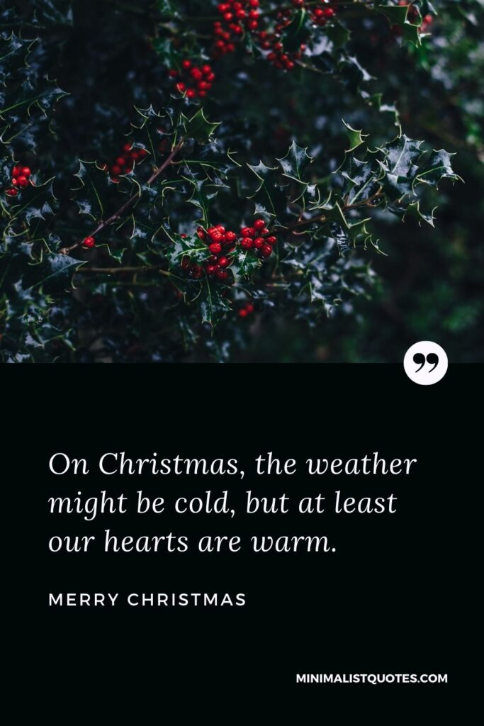 Merry Christmas Wish - On Christmas, the weather might be cold, but at least our hearts are warm.
