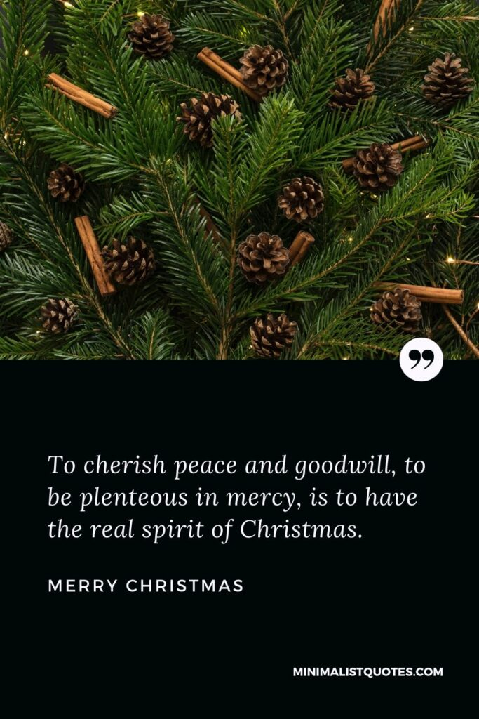Merry Christmas Wish - To cherish peace and goodwill, to be plenteous in mercy, is to have the real spirit of Christmas.