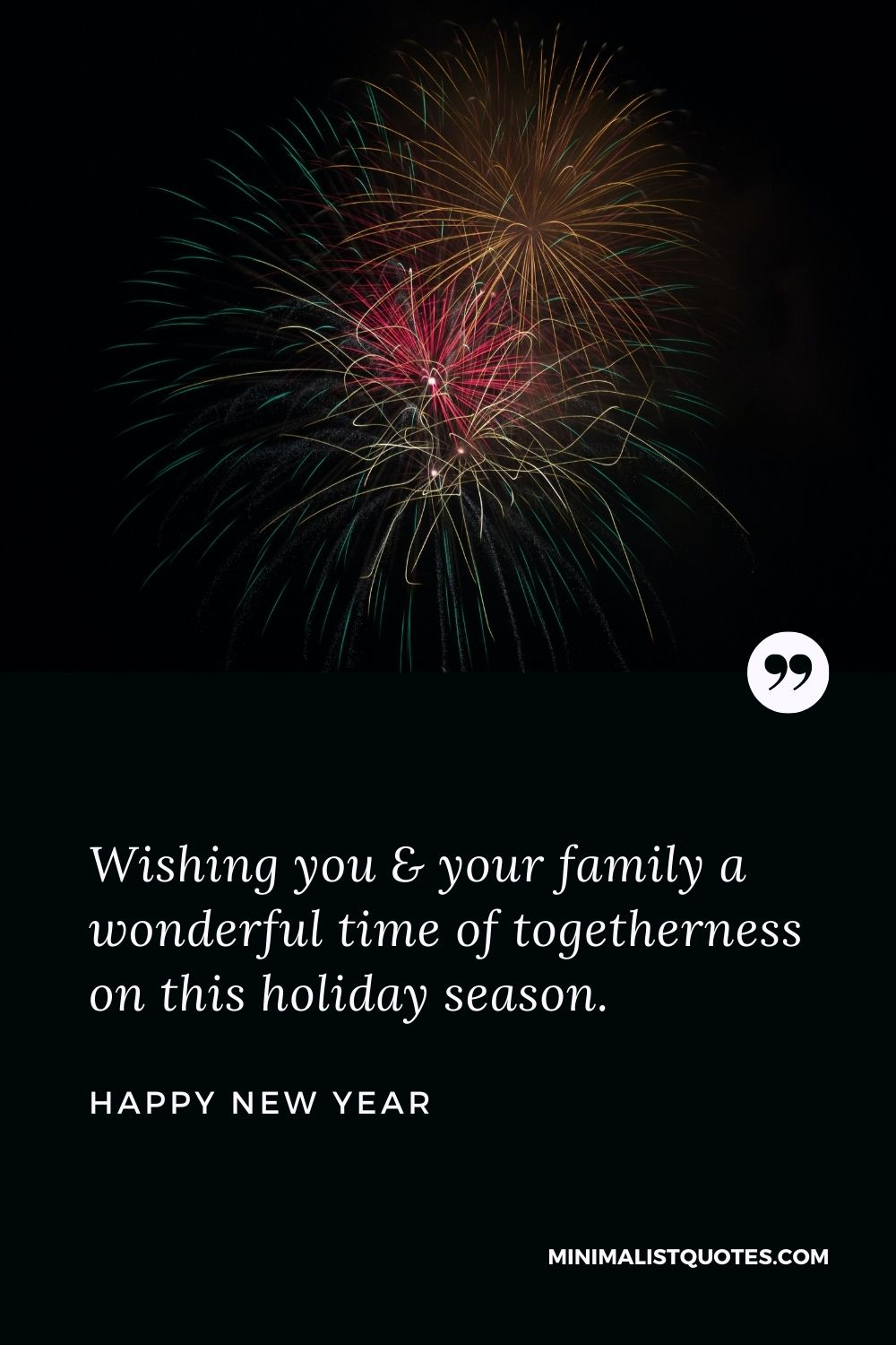 New Year - Wishing you & your family a wonderful time of togetherness on this holiday season.