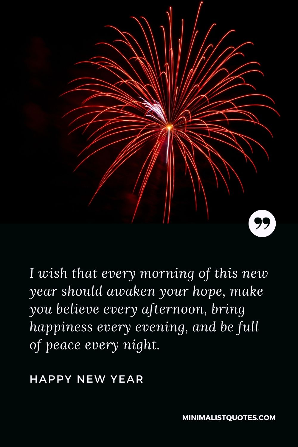 New Year Wish & Message With Image: I wish that every morning of this new year should awaken your hope, make you believe every afternoon, bring happiness every evening, and be full of peace every night.