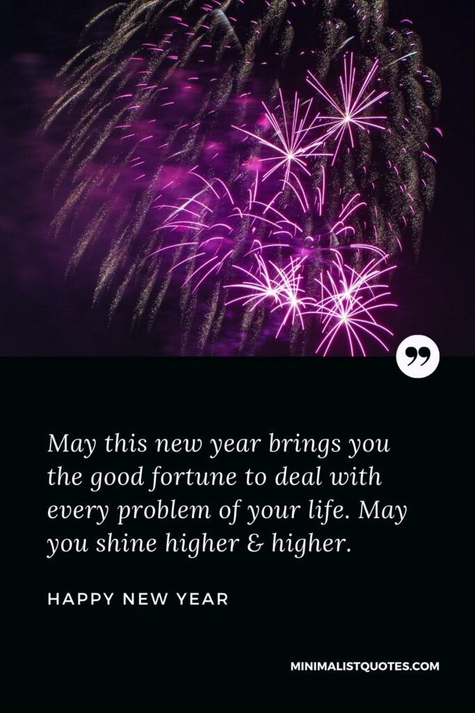 New Year Wish - May this new year brings you the good fortune to deal with every problem of your life. May you shine higher & higher.