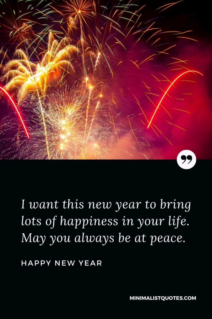 New Year Wish - I want this new year to bring lots of happiness in your life. May you always be at peace.