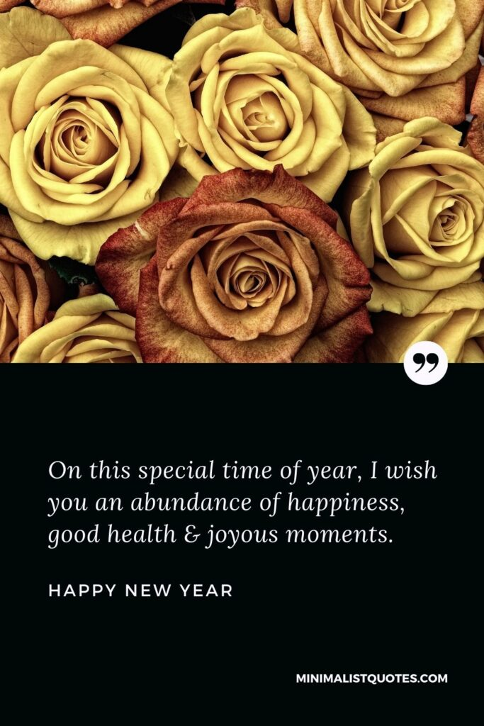 New Year Wish - On this special time of year, I wish you an abundance of happiness, good health & joyous moments.