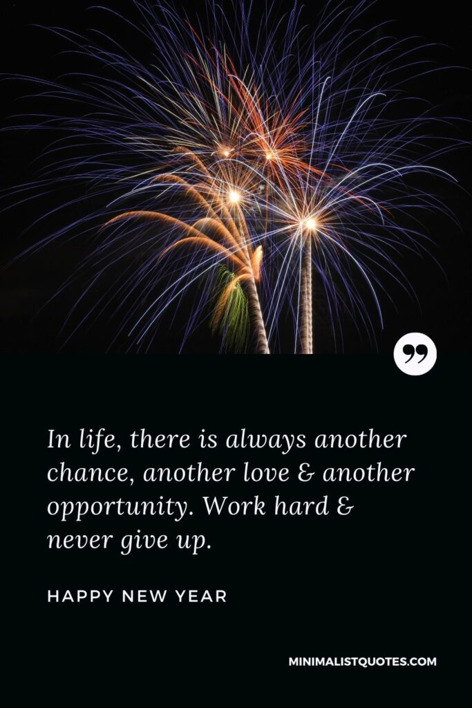 New Year Wish - In life, there is always another chance, another love & another opportunity. Work hard & never give up.