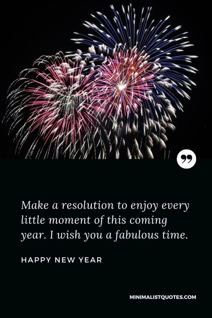 New Year Wish - Make a resolution to enjoy every little moment of this coming year. I wish you a fabulous time.