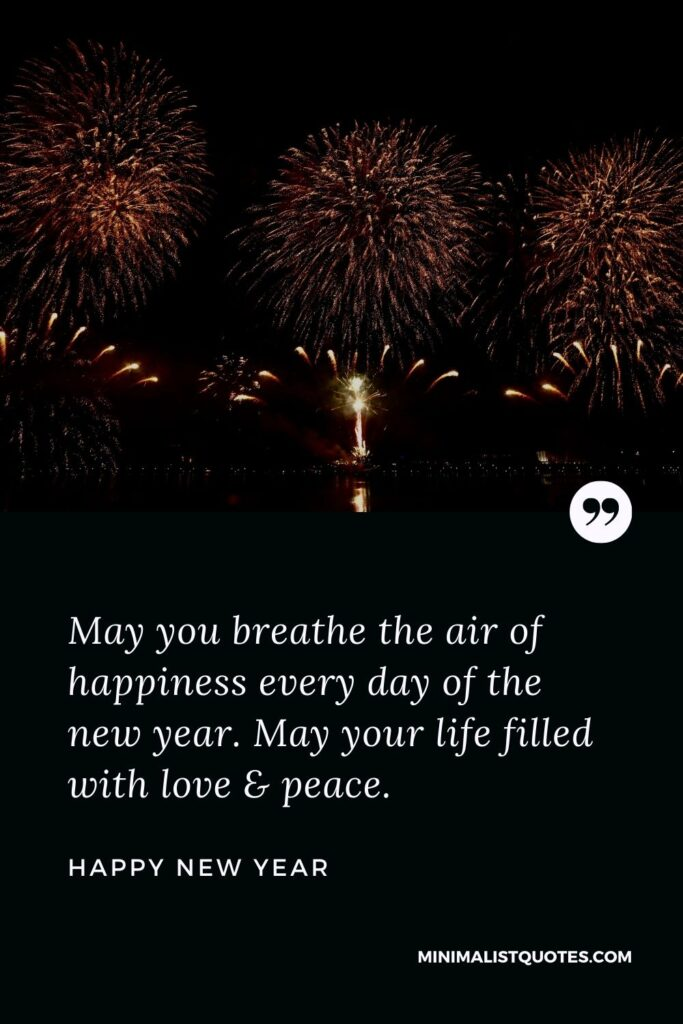 New Year Wish - May you breathe the air of happiness every day of the new year. May your life filled with love & peace.