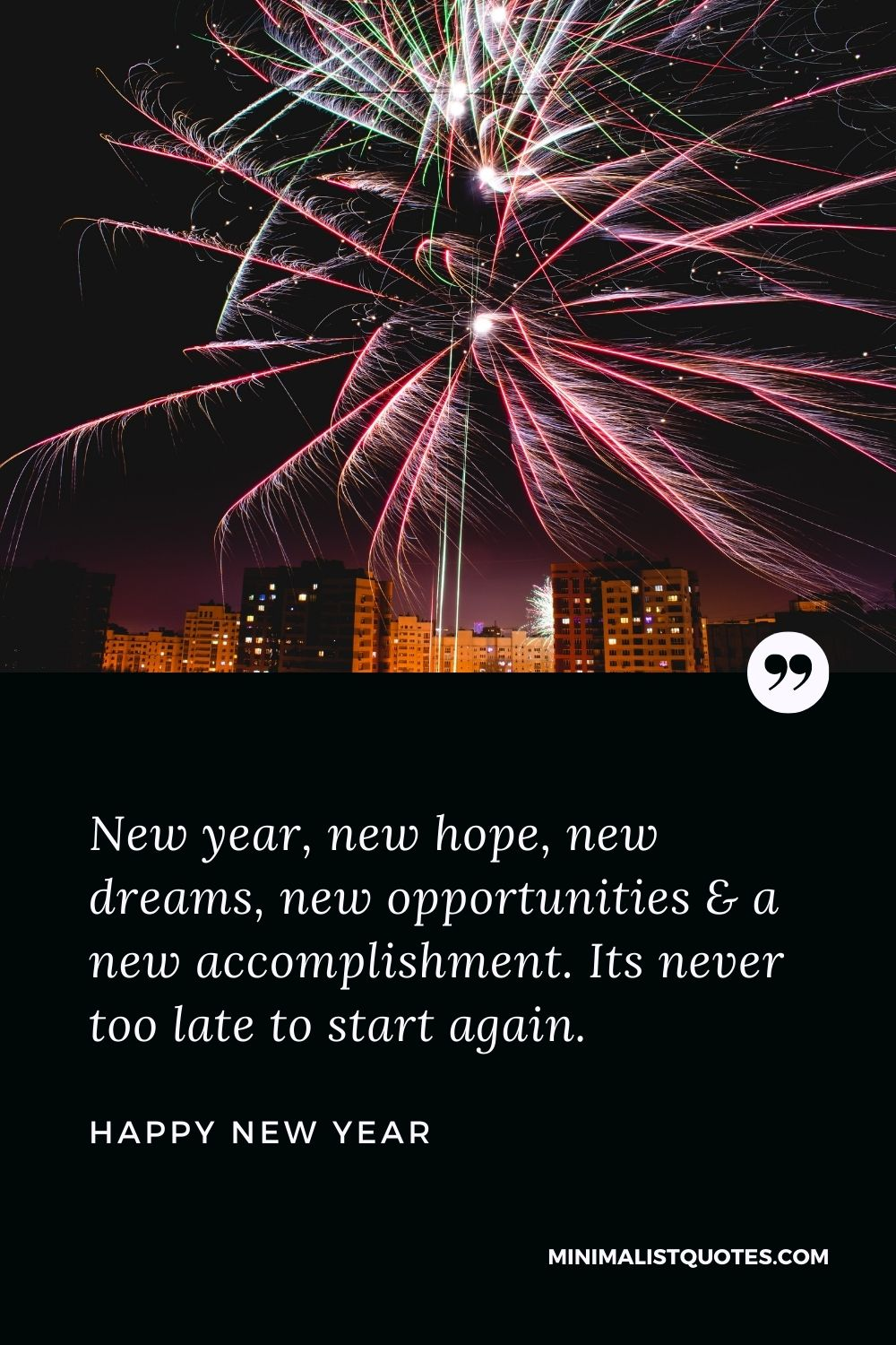 New Year Wish - New year, new hope, new dreams, new opportunities & a new accomplishment. Its never too late to start again.