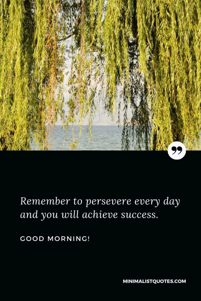 Good Morning Wish & Message With Image: Remember to persevere every day and you will achieve success.
