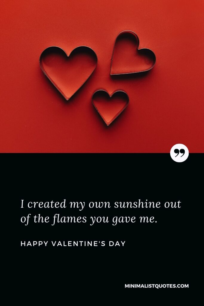 Valentine's Day Wish & Message: I created my own sunshine out of the flames you gave me.
