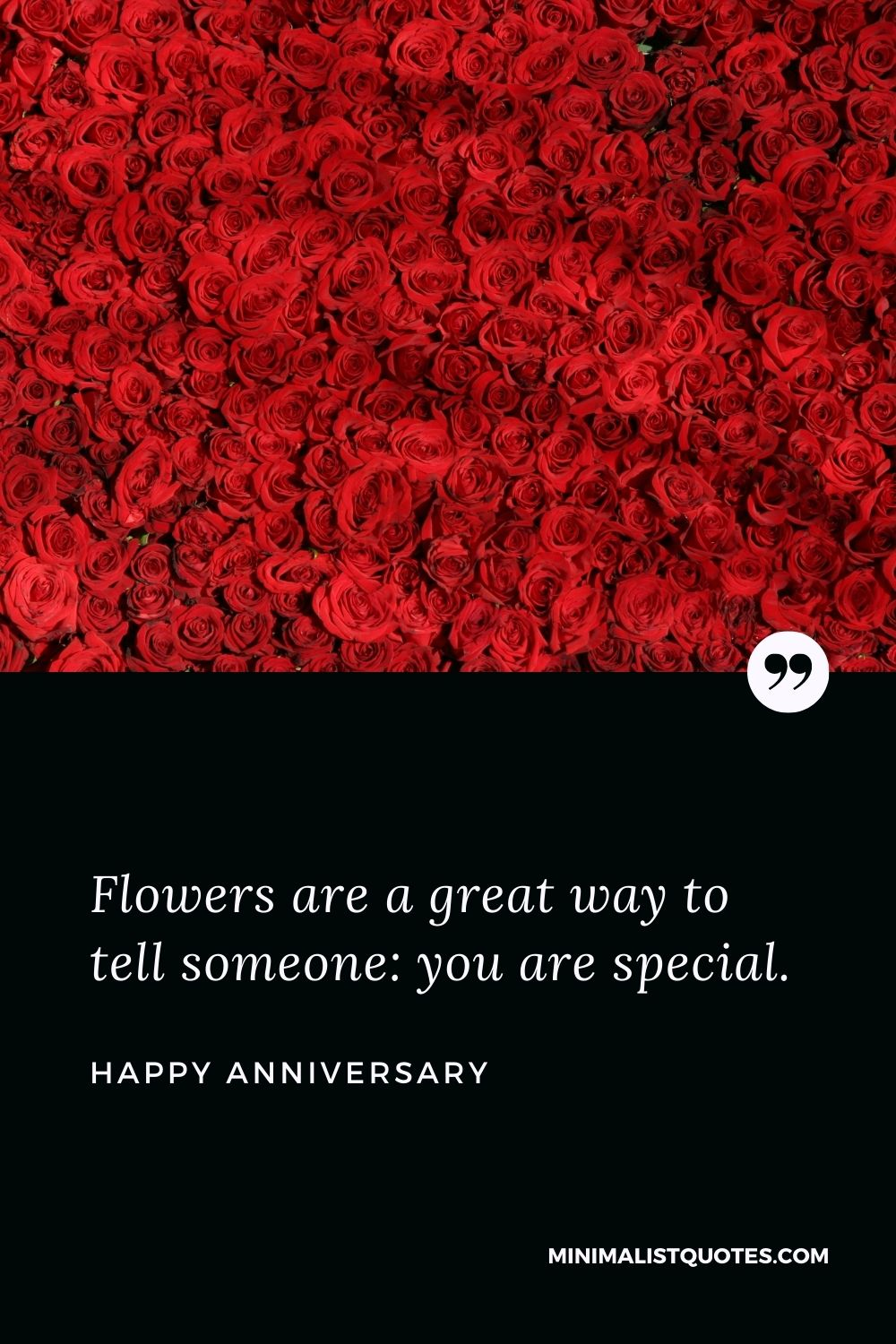 Anniversary Wish & Message With Image: Flowers are a great way to tell someone: you are special. Happy Anniversary!