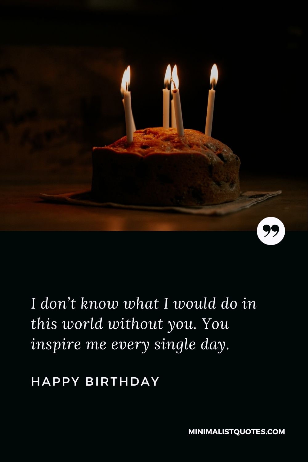Birthday wish, message & quote with HD image: I don't know what I would do in this world without you. You inspire me every single day. Happy Birthday!