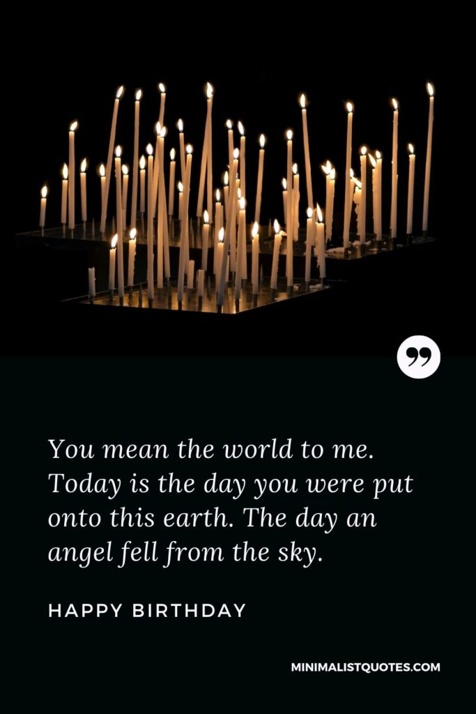 Birthday wish, message & quote with HD image: You mean the world to me. Today is the day you were put onto this earth. The day an angel fell from the sky. Happy Birthday!