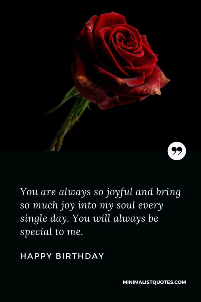 Birthday wish, message & quote with HD image: You are always so joyful and bring so much joy into my soul every single day. You will always be special to me. Happy Birthday!