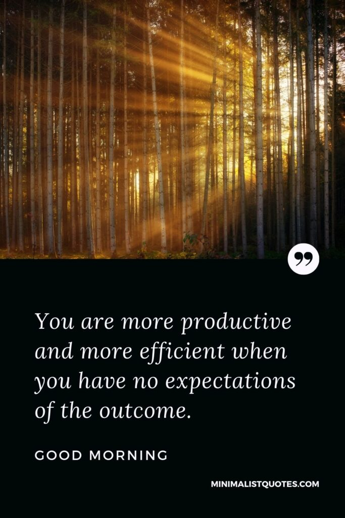 Good Morning Wish & Message: You are more productive and more efficient when you have no expectations of the outcome.