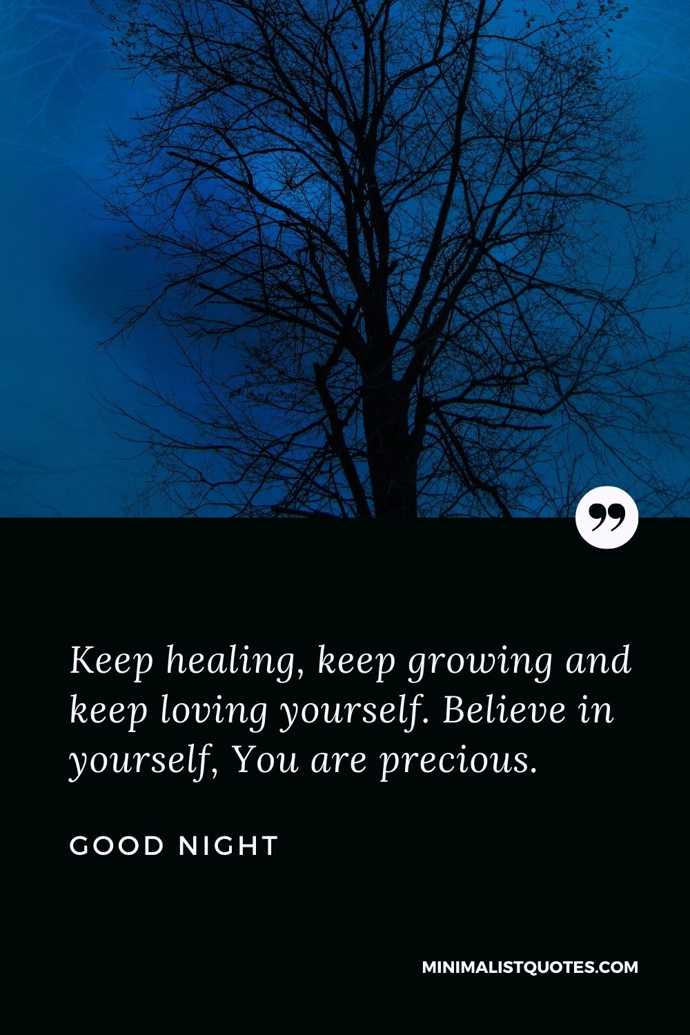 Good Night Wish & Message With Image: Keep healing, keep growing and keep loving yourself. Believe in yourself, You are precious.