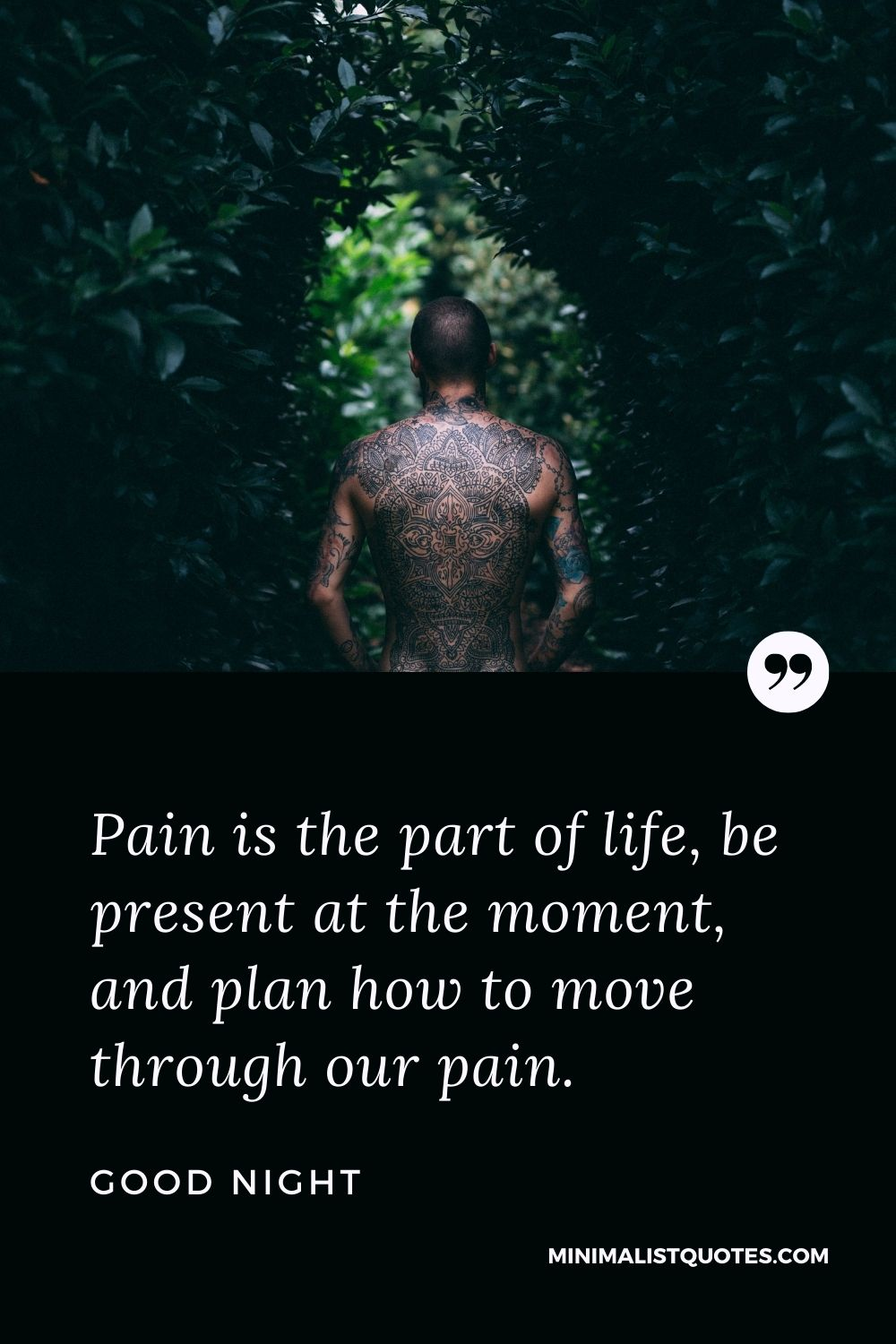 Good Night Wish & Message With Image: Pain is the part of life, be present at the moment, and plan how to move through our pain.
