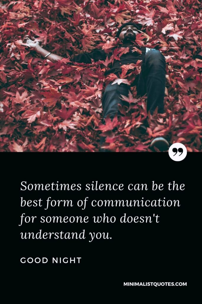 Good Night Wish & Message With Image: Sometimes silence can be the best form of communication for someone who doesn't understand you.